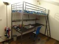 IKEA Svarta Metal Loft Bed With Desk Top Under Bed Accessory , As New Condition