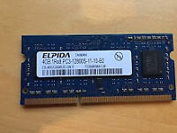 Laptop RAM memory: Elpida 4GB DDR3 1RX8 PC3-12800S 1600mhz 204pin REDUCED FOR QUICK SALE