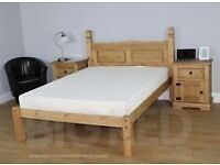 Corona King size solid pine Bed NEW IN BOX (NO MATTRESS)