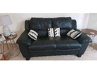 Black leather 2seater sofa