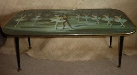 1950's Glass Topped Ballet Scenes Table, Vintage, Retro.