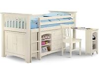 Mid Sleeper Bunk bed with Chest of drawers, desk and Chest