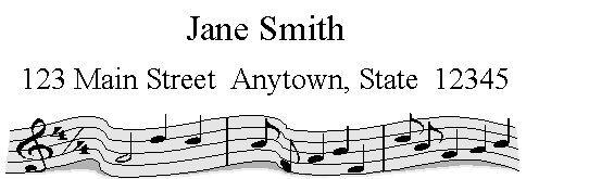 150 personalized return address labels MUSIC BLACK & WHITE