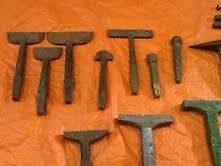 Blacksmiths stakes - various types as shown small stakes £10 each larger stakes £25.00 each