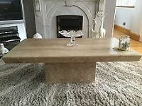 MARBLE COFFEE TABLE - CONSOLE TABLE - 2 PILLARS - NEST OF TABLES GREAT CONDITION