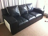 DFS Black and Cream Leather 3 Seater Sofa
