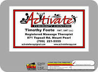 Registered massage therapy available