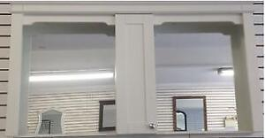 """Gus's Kitchen and Bath White Hutch with Two Mirrors & Center Cabinet - 60""""L x 8""""D x 32"""" L"""