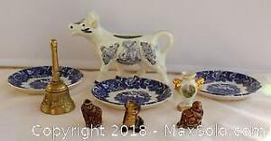 Small Collectible Lot Including Limoges, Brass Bell and Wade Figurines