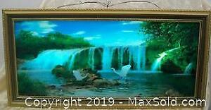 Epic Waterfall Wood Framed Glass Motion Light Wall Picture