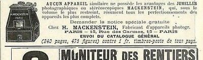 "PARIS RUE DES CARMES "" MACKENSTEIN APPAREILS PHOTO "" PETITE PUBLICITE 1898"