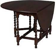 Old oak gate-leg table with barley sugar twist legs