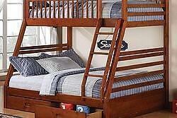 TWIN OVER FULL BUNK BED WITH TRUNDLE DRAWERS IN HONEY *MATTRESSES SOLD SEPARATELY