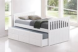 TRUNDLE BED WITH DRAWERS IN A WHITE FINISH *MATTRESSES SOLD SEPARATELY