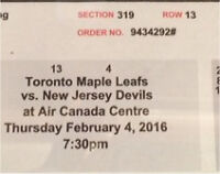 ((2))Hockey game tickets (Toronto vs New Jersey)