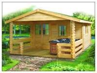 Do It Yourself Log Bunkie /shed KITS  13'x20' with covered deck