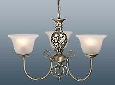 3 Arm Chandelier Ceiling Pendant Light Fitting Glass Shades Antique Brass