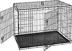 Large folding dog crate - double door