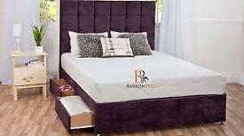 🔴DISCOUNT SALE PRICE🔵DOUBLE/KING SIZE CRUSH VELVET DIVAN BED BASE W OPTIONAL MATTRESS & HEADBOARD