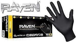 Raven Nitrile Black Gloves 100box Mechanic Construction Work Worldwide Ship
