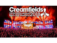 creamfields 3 Day weekend camping Friday 24th till 26th August 2018