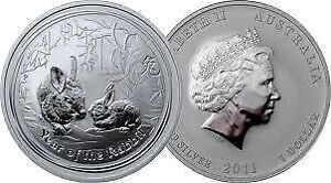 piece en argent/silver bullion Rabbit lunar II 2011 1 oz