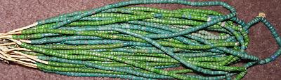 African Chevron green trade beads