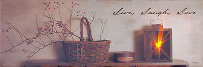 New Primitive Lighted Canvas Picture LIVE LAUGH LOVE Berry Basket Candle Lantern