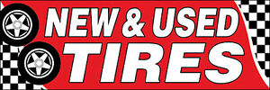 4x12 ft NEW & USED TIRES Vinyl Auto Shop Banner Sign New - (red)