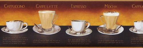 Mocha Espresso Capuccino Latte cups Kitchen Wallpaper Wall Border coffee recipe