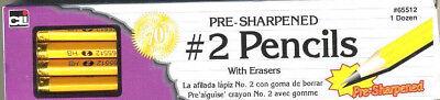 NEW 12 PACK Pencils - No. 2 / HB Real Wood PRE SHARPENED Eraser A DOZEN NUMBER 2