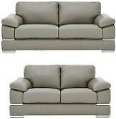 Primo grey 3 seater and 2 seater Italian leather sofa