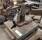 Large early 1900s Leather die press with chain
