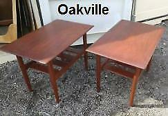 RARE TEAK SIDE TABLES 30x19x23high DELIVERY Smooth Silky Set of 2 Mid-Century Vintage Retro Solid Wood Beauty Oakville