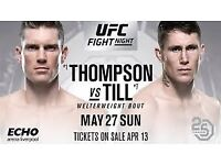 2 x UFC Liverpool Fight Night Sun 27th May top priced seats !!
