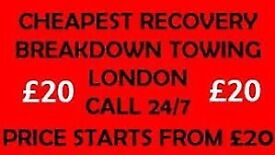 24/7 CHEAP VAN CAR RECOVERY BRAEKDOWN VEHICLE JUMP START TOW Trucks TOWING 24/7 SERVICE TRANSPORTER