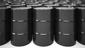 Large quantity of newish black used oil steal pan drum container BBq barrel can also cut deliver.