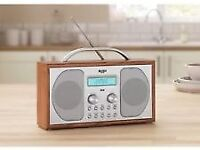 Bush DAB Bluetooth LCD Display Wooden Radio 3W RDS - with all cables.