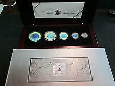 Pieces de monnaie 2003 5 Coin Hologram Silver Maple Leaf Set