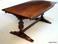 Old charm solid oak refrectory dining room table and 6 chairs including 2 carvers