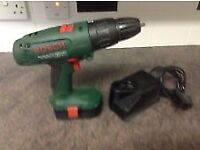 BOSCH 18 V DRILL + CHARGER AND 2 BATTERIES in good working order.