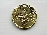 £2 TWO POUND COIN TERCENTENARY OF THE BILL OF RIGHTS 1689 - 1989