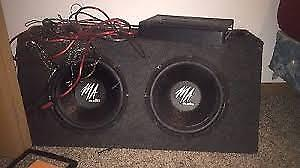 Car Subwoofers and Amplifier (dual 10 inch, great condition)
