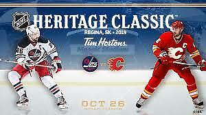FLAMES vs. JETS Heritage Classic Oct 26th - 4 CENTER ICE Seats!