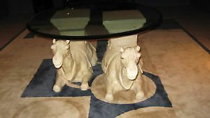 camels round glass table