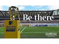 AVIVA FINAL Premiership rugby tickets x2 - Longside lower tier row. Saturday 26th May 2018 3pm