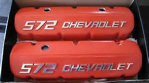 chevrolet bb-572 new v/covers (orange)cast aluminum raised logo