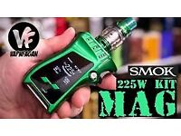SMOK MAG 225W WITH 8ML BUBBLE TANK AND BATTERIES.