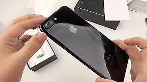 iPhone 7 Plus Jet Black 128 GB + Screen Protector + Clear Case