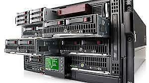 HP BladeSystem C3000 with 4 Blades.  HP Blade BL460C - 64 Cores - 384Gb RAM - 10Gb Fibers - 1 Year Warranty-Customizable